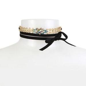Betsey J Crystal Star Black Velvet Choker Necklace
